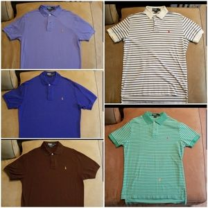 Lot of 5 Ralph Lauren Polo Shirts - Size Med